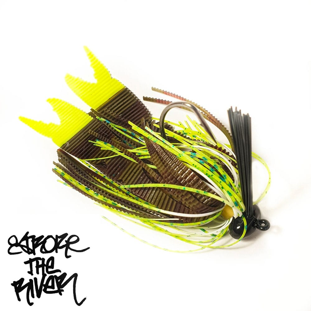 crankys leurre rubber jig krawtex yellow stroke the river pêche fishing