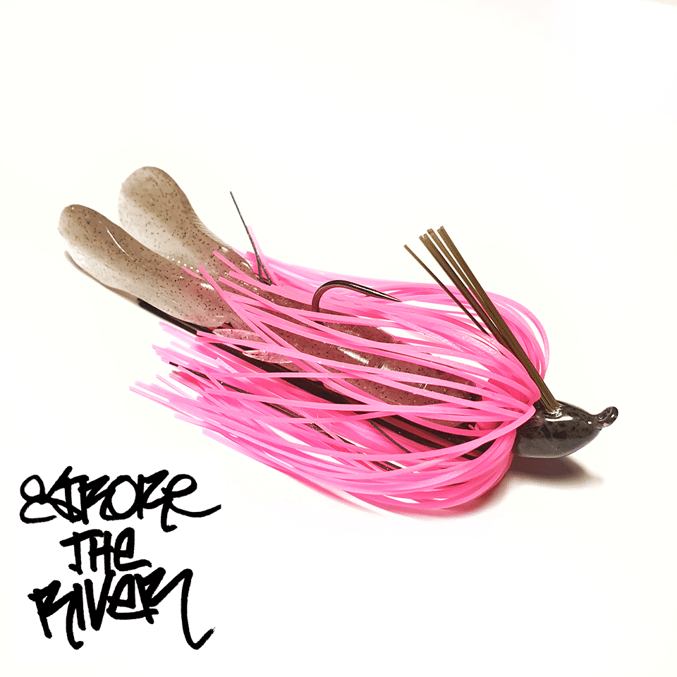 crankys-rubber-jig-hot-pink-stroke-the-river