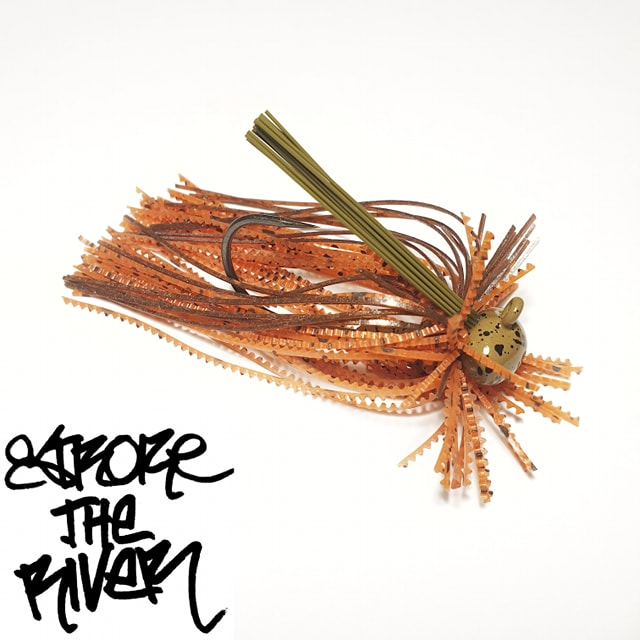 crankys-rubber-jig-long-orange-craw-stroke-the-river