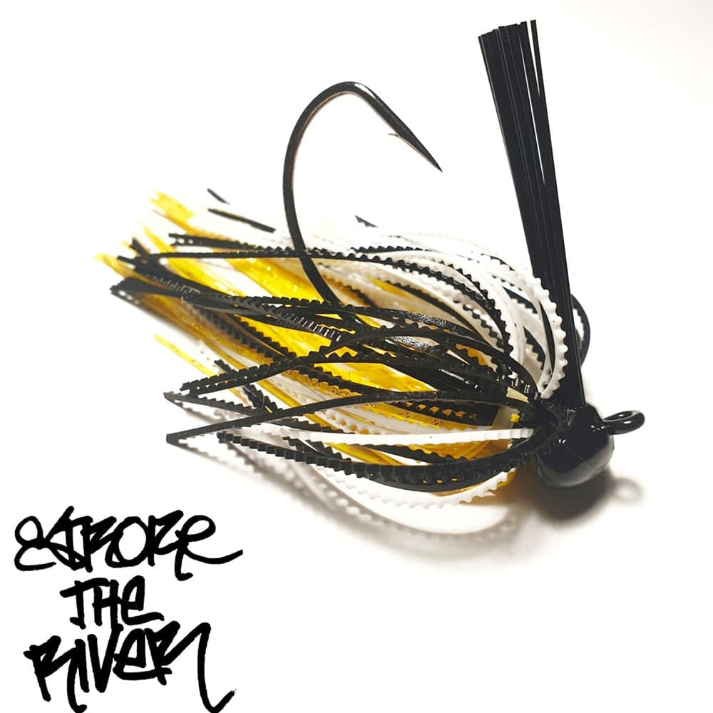 crankys leurre rubber jig yellow star stroke the river pêche fishing